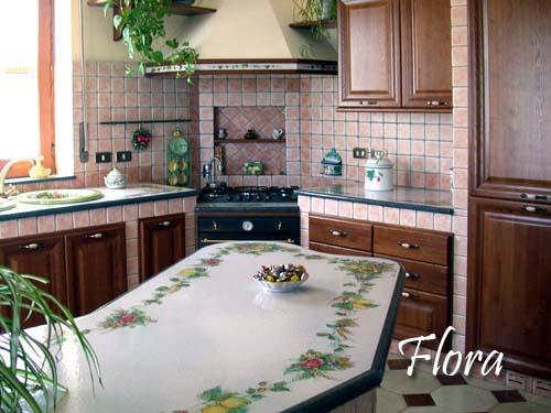 Cucina flora2 decorazione pietra lavica etna ceramizzata - Bagno finta muratura ...